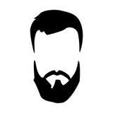 Ausführliches Haar und Bärte des Hippies gelegt Bärtiger Mann der Mode Langer Bart mit dem Gesichtshaar Bart lokalisiert auf Weiß Stockbilder