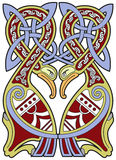 Ausführliches keltisches Auslegungelement mit Vögeln Lizenzfreie Stockbilder