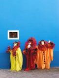 Ausführung mit drei Clownen Stockfotografie
