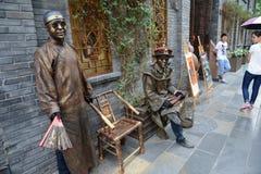 Ausführung von Straßenkünstlern in Chengdu Lizenzfreies Stockfoto