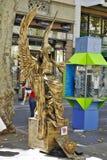 Ausführungskünstler alon La Rambla, in Barcelona, Spanien stockfotos