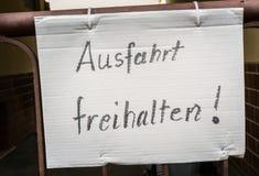 Ausfahrt Freihalten German Hand Written Notice Sign Paper Gate F Royalty Free Stock Photography
