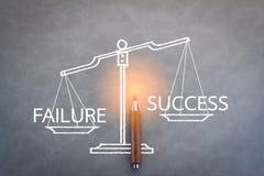Ausfall- und Erfolgswort auf Skala Lizenzfreies Stockbild