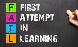 AUSFALLUNGS-Akronym versuchen zuerst beim Lernen, das mit Kreide O handgeschrieben ist stockbild