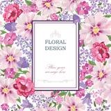 Ausführliche vektorzeichnung Blumenblumenstrauß-Weinleseabdeckung glückliches neues Jahr Lizenzfreies Stockfoto