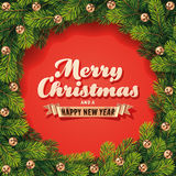 Ausführliche Weihnachtskranz-Karte Stockbilder