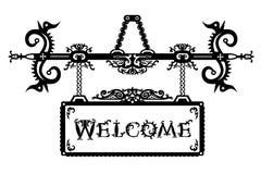 Ausführliches Weinleseschild und -guß Willkommen in einer gotischen Halloween-Art Lizenzfreie Stockbilder