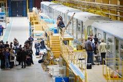 Ausflügler und drücken Werkstatt ein Stockfotos