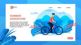 Ausflug-Agentur-Landungs-Seite bietet Sommer-Abenteuer an vektor abbildung