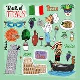 Ausflug von Italien-Illustration Stockfoto