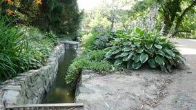 Ausflusskanäle im Gartenpark stock footage