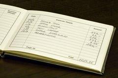 Ausgaben-Aufzeichnungs-Buch Stockfotos