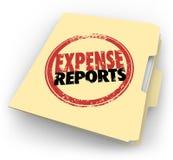 Ausgaben-Berichts-Stempel-Manila-Ordner quittiert Dokumente Stockbilder