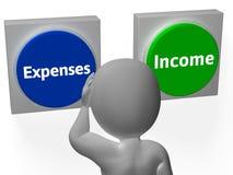 Ausgaben-Einkommens-Knopf-Show-Zahlungen oder Außenstände Stockbilder