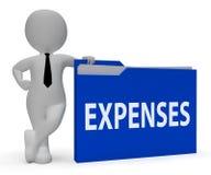 Ausgaben-Ordner zeigt das Finanz Dokument und Wiedergabe der Datei-3d lizenzfreie abbildung