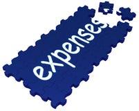 Ausgaben-Puzzlespiel, das Rechnungen und Zahlung zeigt lizenzfreie abbildung