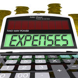 Ausgaben-Taschenrechner zeigt Unkosten lizenzfreie abbildung