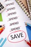 Ausgaben- und Einsparungsmitteilung Stockbilder
