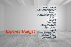 Ausgabenbudgetausdrücke geschrieben in hellen Raum Lizenzfreies Stockfoto