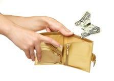 Ausgabengeld oder aus Geldkonzept heraus Lizenzfreie Stockbilder