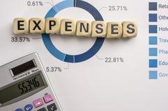 Ausgabenkonzept mit Datenanalyse und Taschenrechner Stockbilder