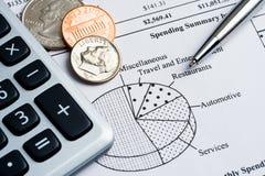 Ausgabenzusammenfassung Lizenzfreies Stockbild
