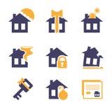 Ausgangs-und Haus-Versicherungs-Risiko-Ikonen Stockfotografie