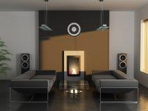 Ausgangsinnenraum mit Kamin und Sofas Stockbilder
