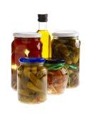 Ausgangskonserven und Olivenöl. Lizenzfreie Stockfotografie