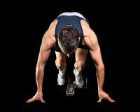Ausgangsposition in der Leichtathletik Stockbild