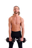 Ausgeübter Körperzug des jungen Mannes mit Stangeglocke Lizenzfreie Stockfotos