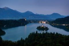 Ausgeblutetes Blejski Otok, Slowenien stockbilder