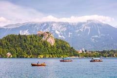 Ausgeblutetes Schloss auf einem Abgrund, der ausgebluteten See mit Touristen a übersieht Stockbilder