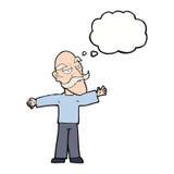 ausgebreitete Arme des alten Mannes der Karikatur weit mit Gedankenblase Stockbilder
