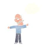 ausgebreitete Arme des alten Mannes der Karikatur weit mit Gedankenblase Stockfotografie