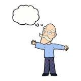 ausgebreitete Arme des alten Mannes der Karikatur weit mit Gedankenblase Lizenzfreie Stockfotografie