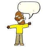 ausgebreitete Arme des alten Mannes der Karikatur weit mit Spracheblase Lizenzfreies Stockfoto