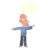 ausgebreitete Arme des alten Mannes der Karikatur weit mit Spracheblase Lizenzfreie Stockfotos