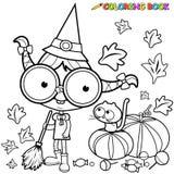 Ausgedehnte Kürbisblätter Farbtonseite Halloween-Hexe Stockbild
