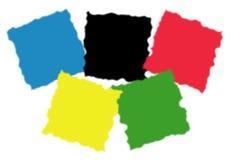 Ausgefranste Quadrate in den olympischen Farben Lizenzfreie Stockbilder