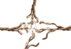 Ausgefranstes Seil lokalisiert Stockfotografie