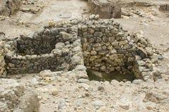 Ausgegrabene Räume in der alten Stadt von Meggido Israel stockbild