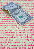 Ausgeschlossen; mein letzter Dollar. Stockbild