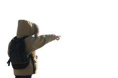 ausgestreckter Arm und zeigenfinger des Forschers und des weißen backg stockfotografie