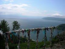 Ausgezeichnete Ansicht zu Baikal von der Höhe der Insel von Olkhon Sommer Der Baikalsee, Insel Olkhon, Russland Stockfotos