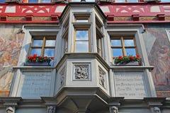 Ausgezeichnete Ansichten der im Stadtzentrum gelegenen Gebäude Stein-sein-Rhein, die Schweiz Stockbild