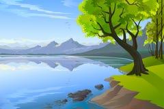 Ausgezeichnete Hügel- und Seeansicht Lizenzfreies Stockfoto