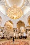 Ausgezeichneter Innenraum von Sheikh Zayed Grand Mosque in Abu Dhabi, UAE Lizenzfreies Stockbild