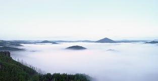 Ausgezeichneter schwerer Nebel in der Landschaft Sahniger Nebel des Herbstes in der Landschaft Hügel erhöht vom Nebel, Stockfotografie