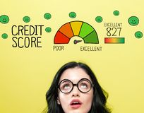 Ausgezeichnetes Kreditscorethema mit junger Frau lizenzfreie abbildung